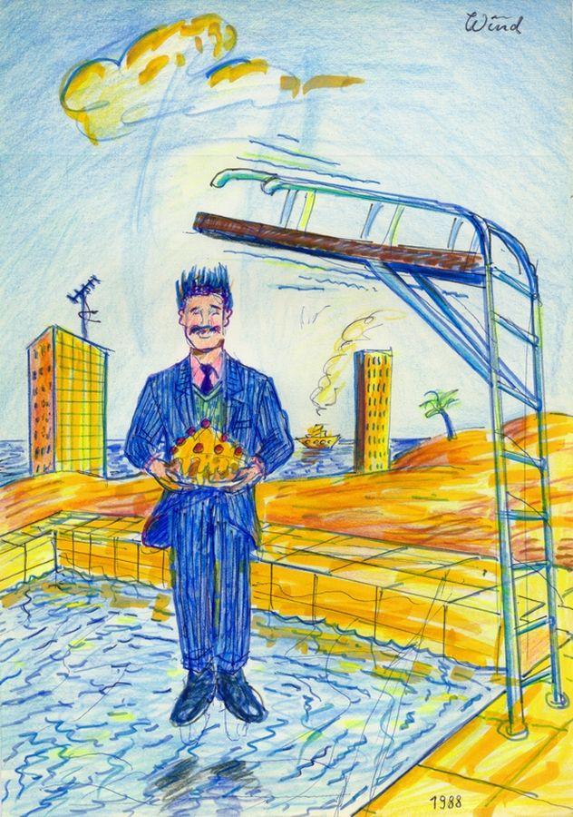 Urlaubsfreuden eines herrlich perversen Herrn (Holiday Fun of a Glorious Perverse Gentleman), 1988-1989 by J.G.Wind - Psychologische Studie / Die Zeichnung wurde 1996 restauriert