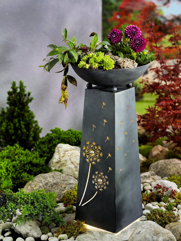 Pflanzsaule Pusteblume Mit Beleuchtung Pflanzen Garten Deko Pflanzschale