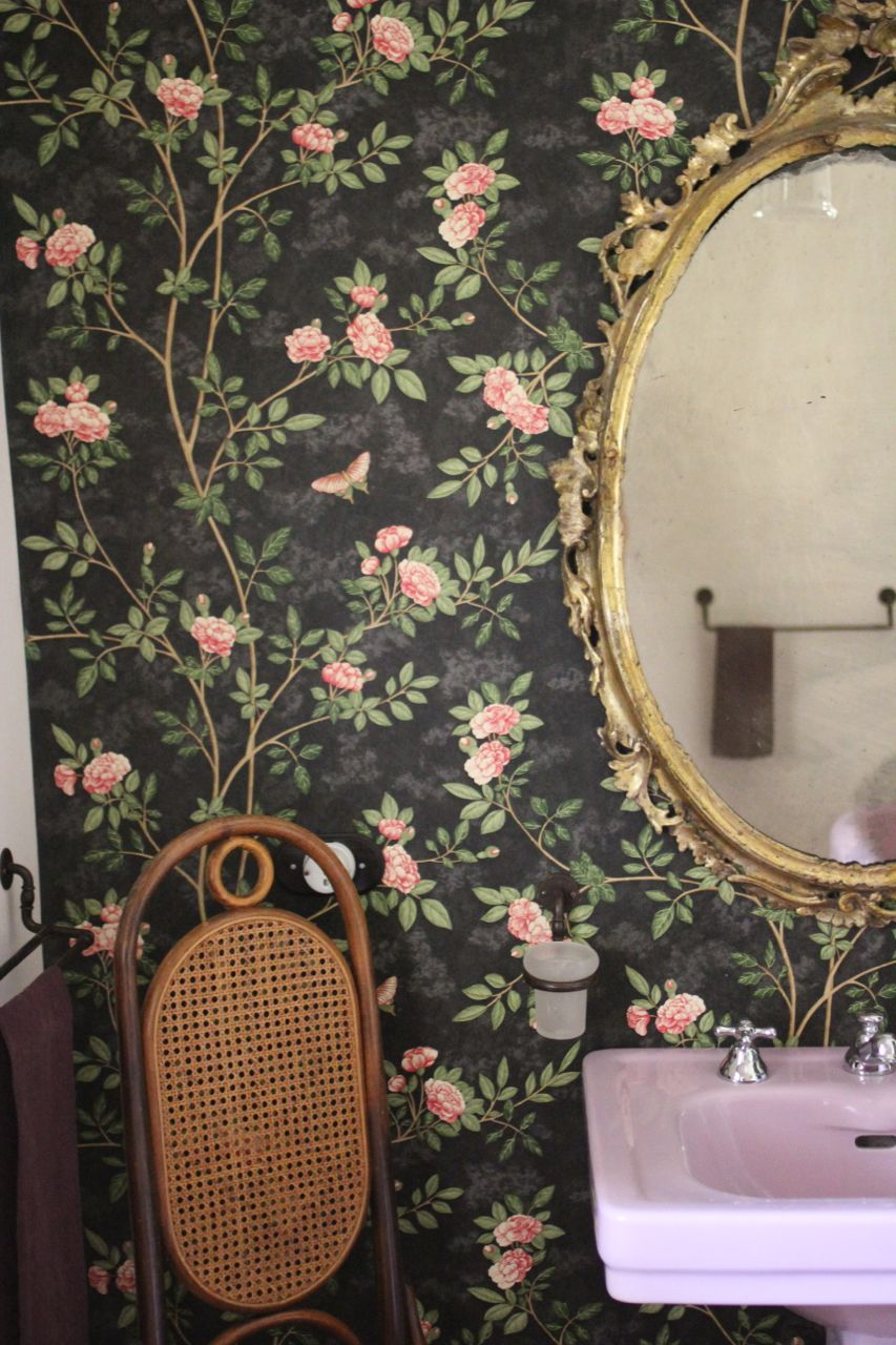 Wallpaper Pink Roses On A Black Field Gold Framed Oval Mirror