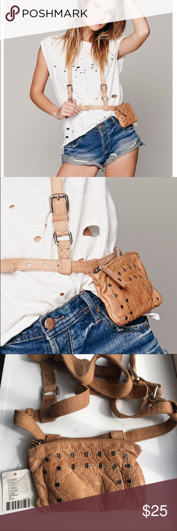 COACHELLA APPROVED! Free People Harness Belt The perfect touch for your festival ensemble. Whether you're headed to Coachella or just want to hands free (yet stylish). This leather body harness belt has a handy pocket (with credit card slots) that is detachable for when you just need the harness to complete your look or want to use the pocket as a wallet. Loops through both arms. Adjustable straps. Gold hardware accents. Zipper closure with leather pull. Free People Bags Mini Bags