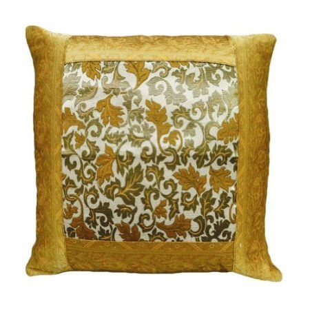 Brocade Home Decor Decoration floral decorative design cushion cover yellow brocade pillow case