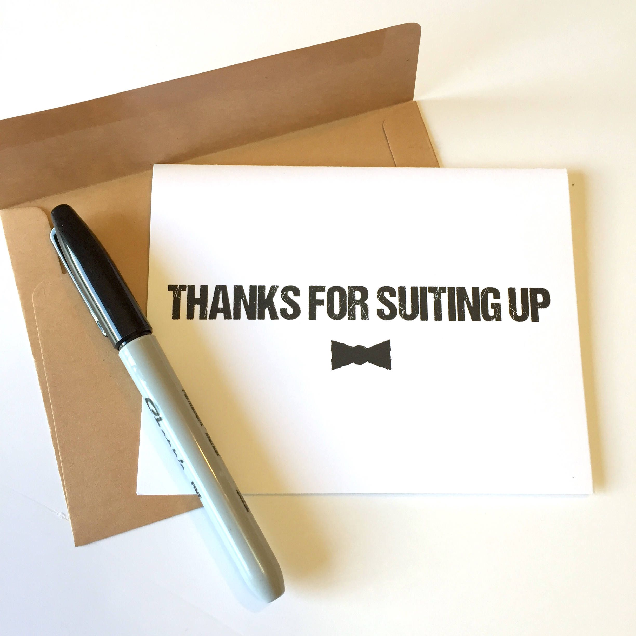 Thanks For Suiting Up Groomsmen Thank You Cards With Bowtie Etsy Groomsman Card Be My Groomsman Bridesmaid Thank You Cards