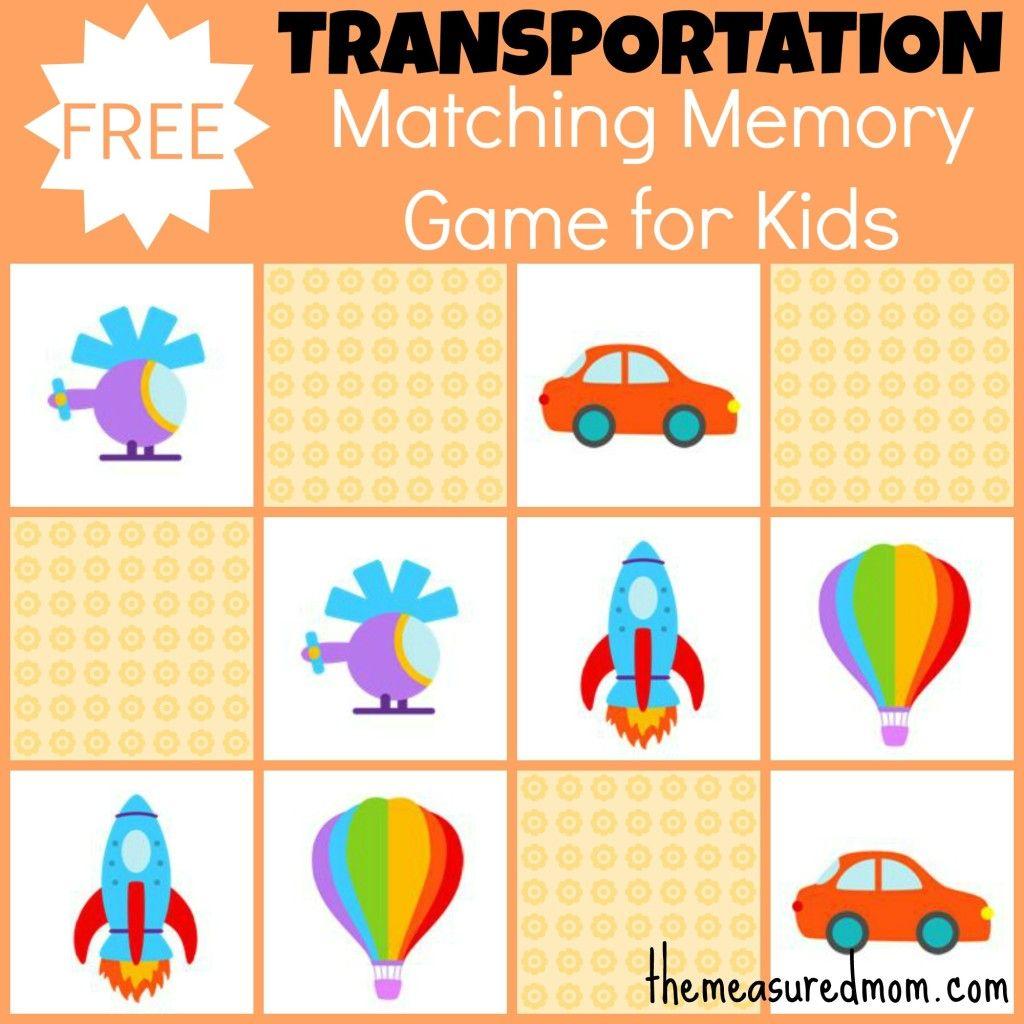 Free Matching Memory Game for Kids Transportation Kids