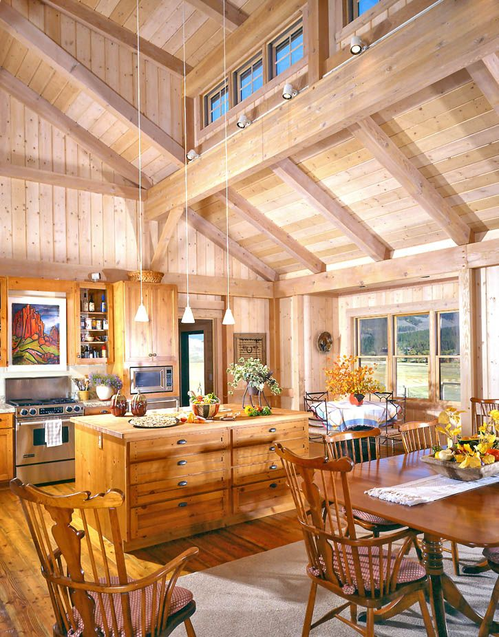 I Am In Love With The Cathedral Ceiling And Exposed Beams In This Kitchen Dining Room Floor Open Concept Kitchen Timber Frame Homes