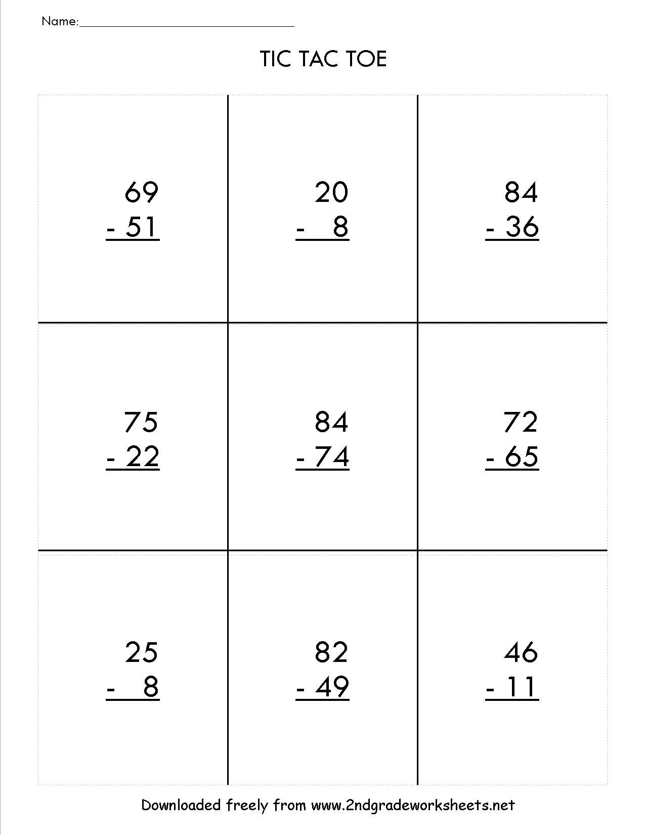 Tictactoemathtwodigitsubtractionregroupingttg Jpg 1 275 1 650 Pixeles 2nd Grade Math Worksheets Math Worksheets 2nd Grade Math [ 1650 x 1275 Pixel ]