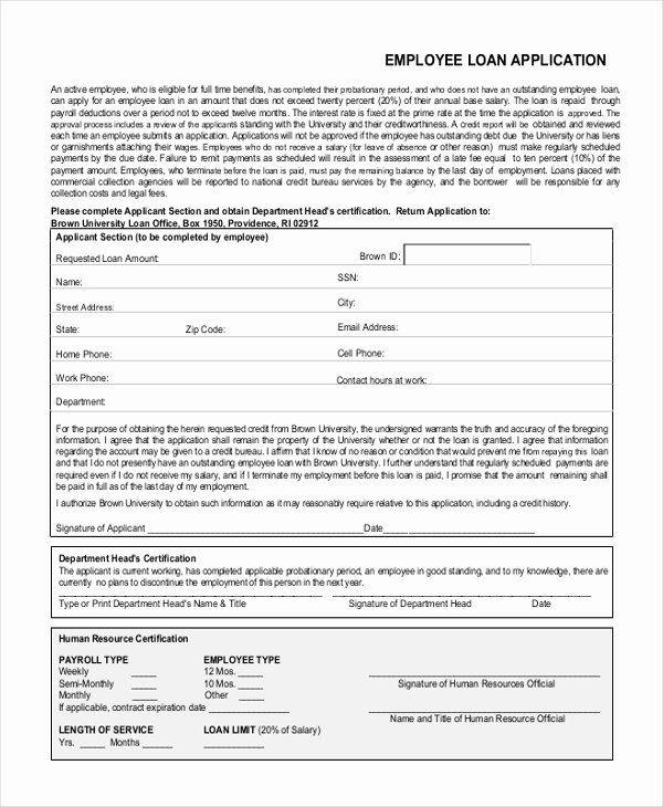 Sample Loan Application form Fresh Sample Loan Application