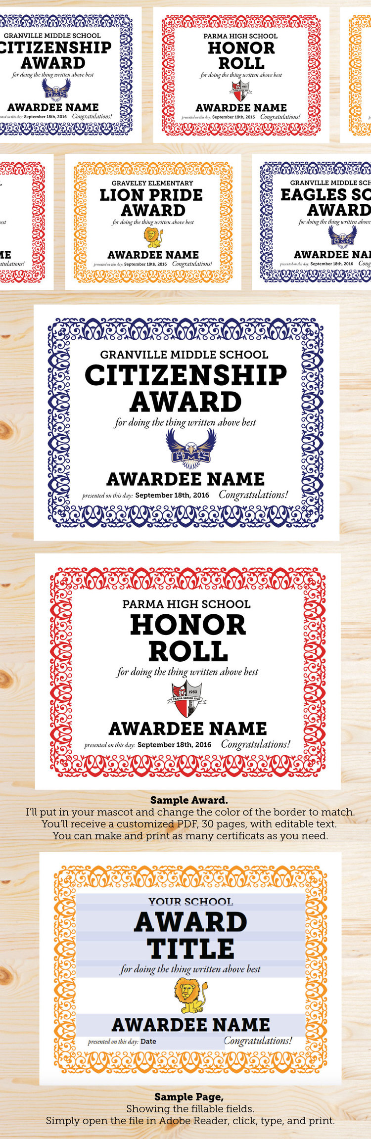 Really Nice School Award Certificates Editable And Customized