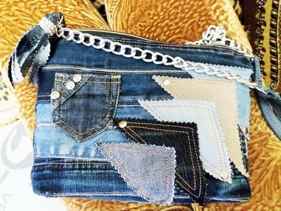 cfbdb132 Denim messenger bag small shoulder bag recycled jean   Etsy   Purses ...
