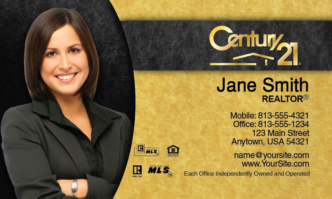 Gold And Black Century Business Card Century Business - Century 21 business cards template