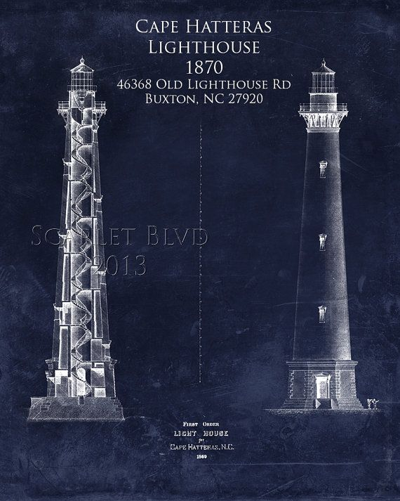 Cape hatteras lighthouse architectural blueprint art print cape hatteras lighthouse architectural blueprint by scarletblvd malvernweather Image collections