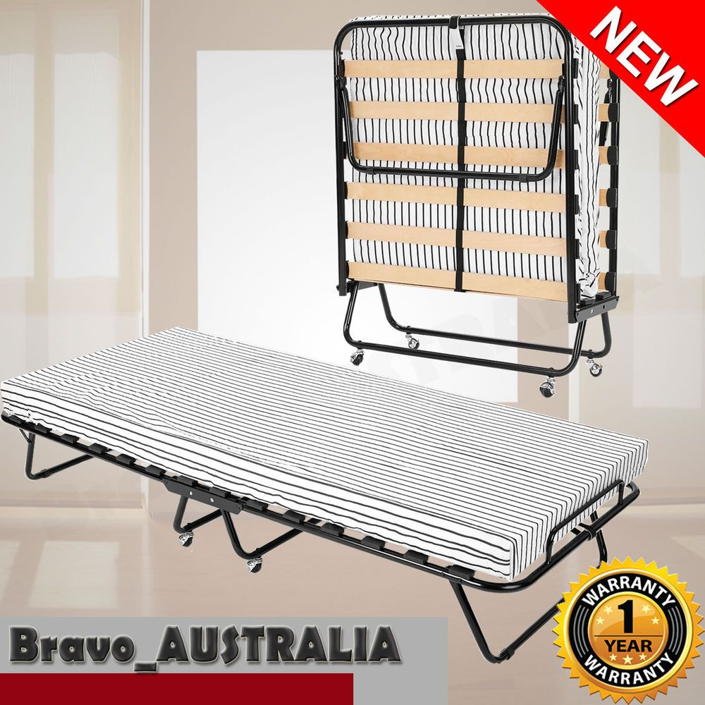 Portable Folding Single Bed w/ Mattress & wheels Camping