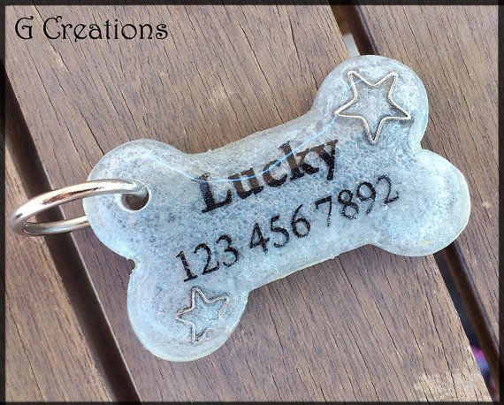 Silver Bone Dog Tag ID with ... from GabriellesCreations on Wanelo #cute #pet #id #tag #dog #cat