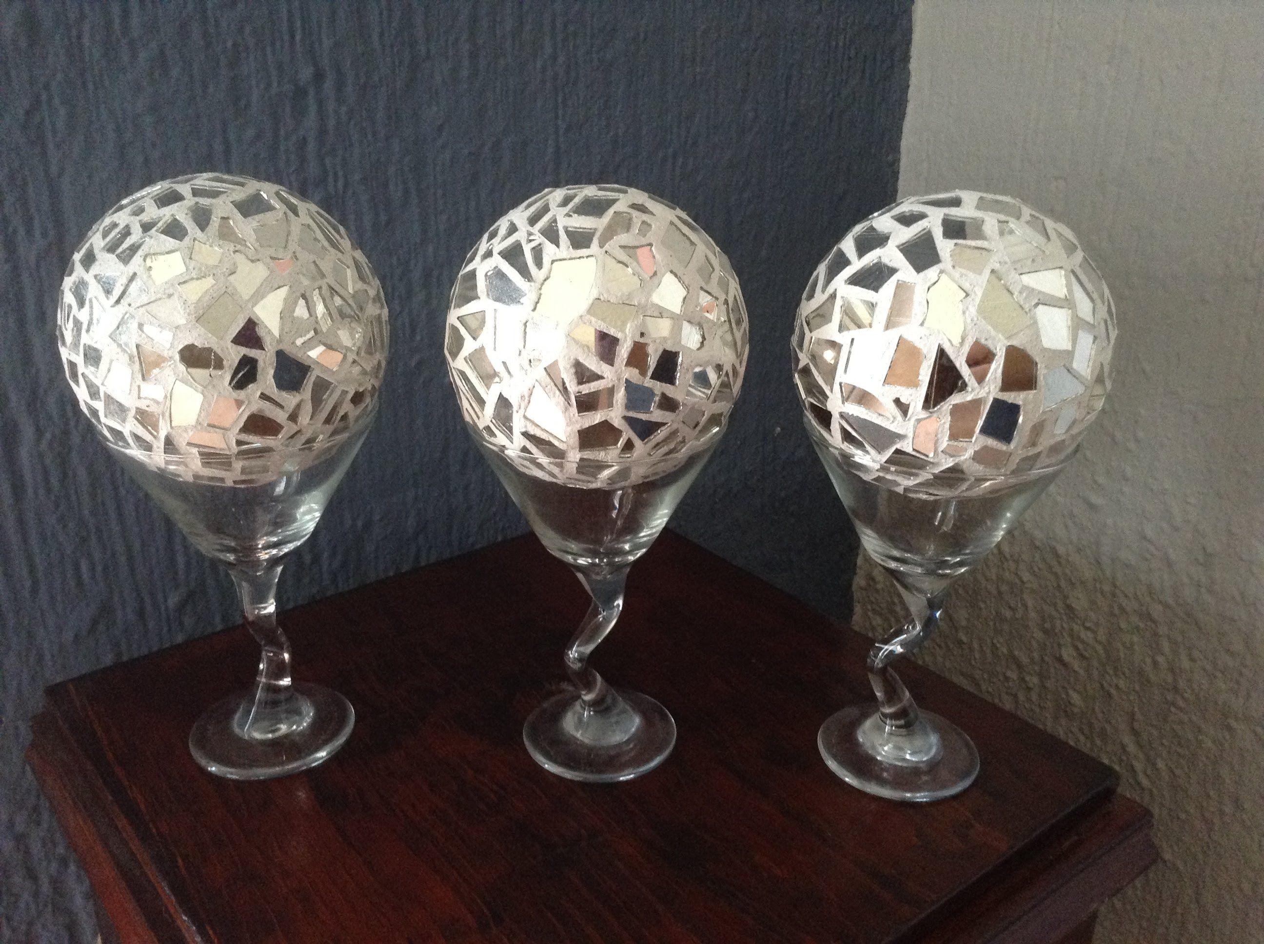 Diy esferas de espejo tipo mosaico para decoracion - Decoracion de espejos ...
