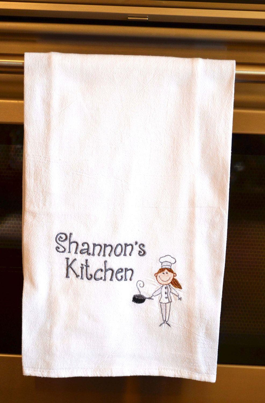 Monogrammed Kitchen Towel Personalized Kitchen Towel Flour Sack