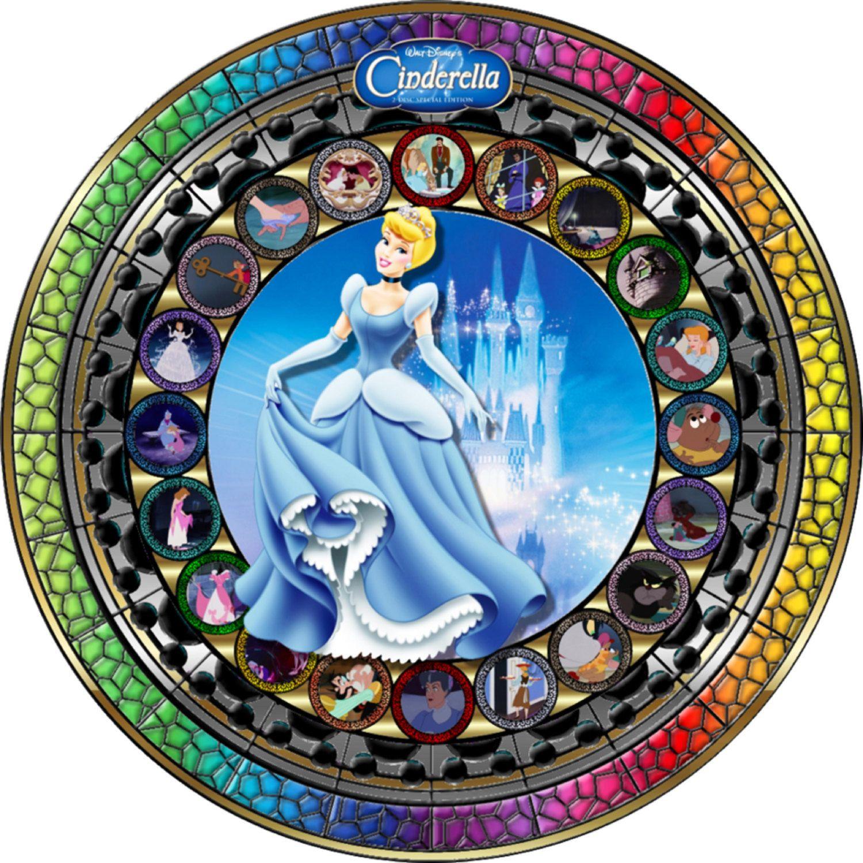 Disney Princess Cinderella 055 Stained Glass Cross Stitch