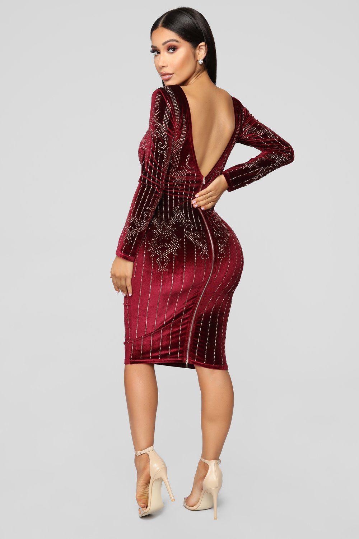 13b576288b580 Stick By Me Velvet Dress - Burgundy in 2019 | Fashion Nova | Dresses ...
