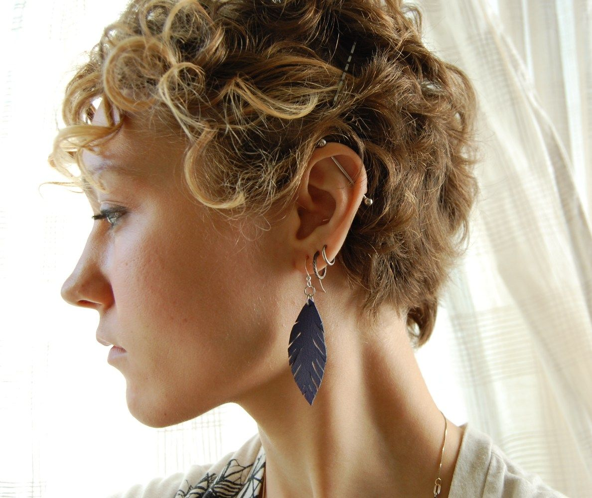 DIY: leather feather earrings