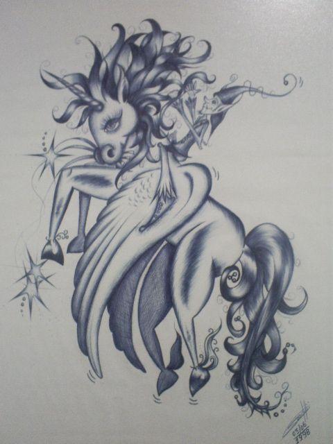 duende em seu unicórnio desenho com caneta esferográfica bic azul
