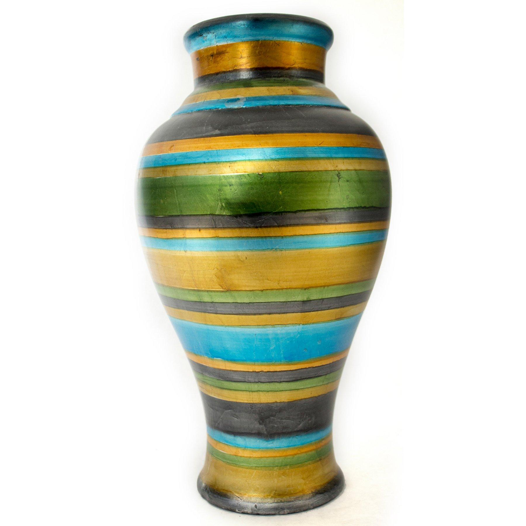 Heather Ann Creations Stripes Collection Ceramic Decorative Amphora Floor  Vase
