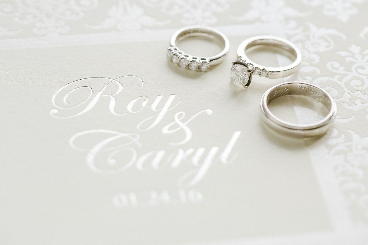 Wedding invitation, wedding bands, engagement ring, wedding details ...