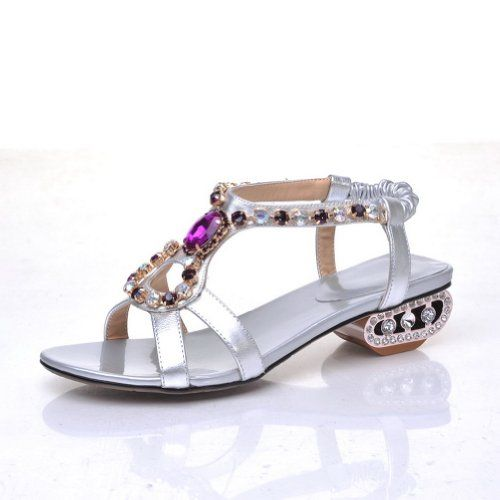 6ffe91c410434b QueenFashion Girls Open Toe Low Heel Sheepskin Soft Material Solid Sandals  with Glass Diamond