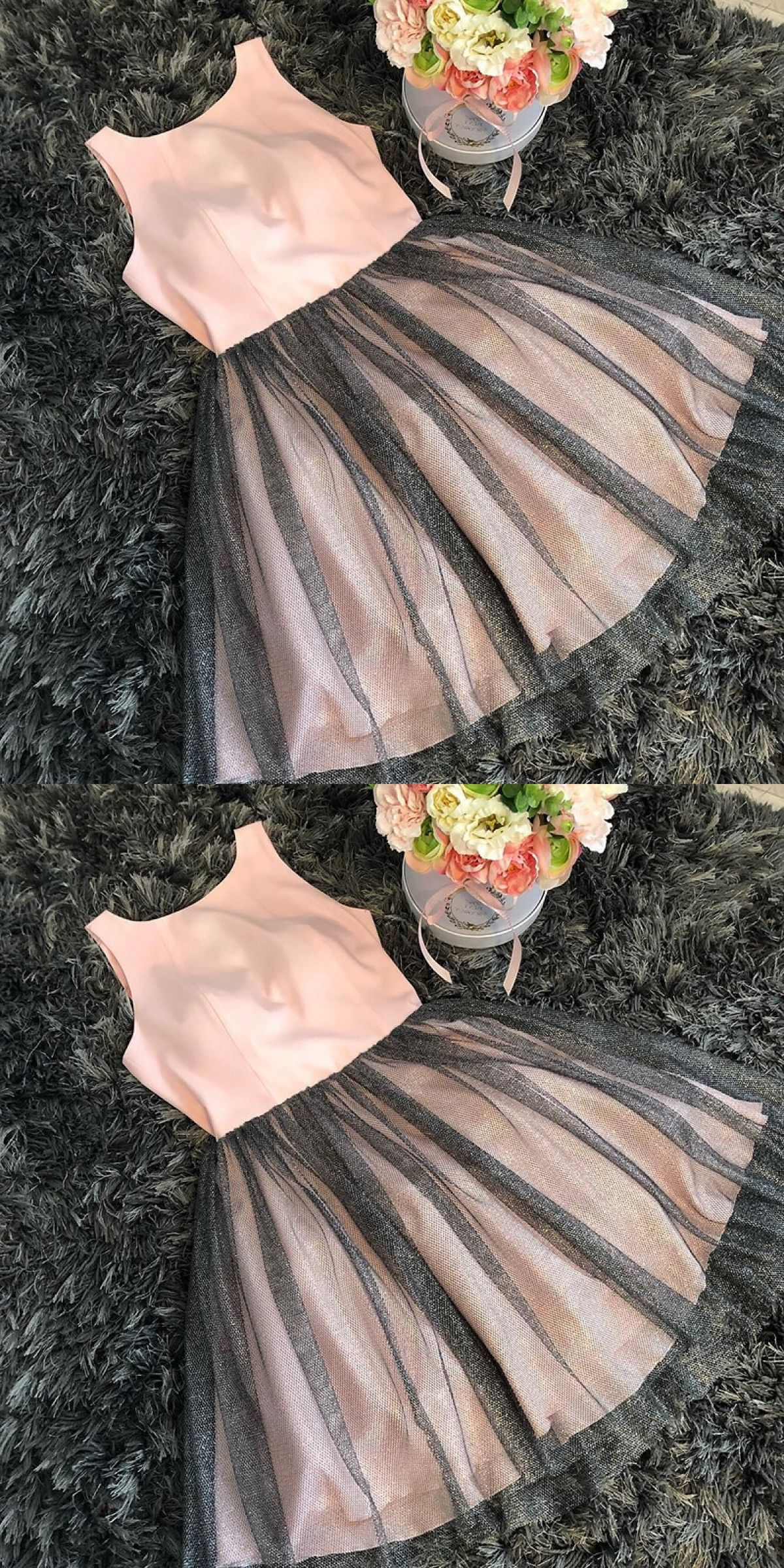 Aline round neck pink tulle homecoming dress in unique