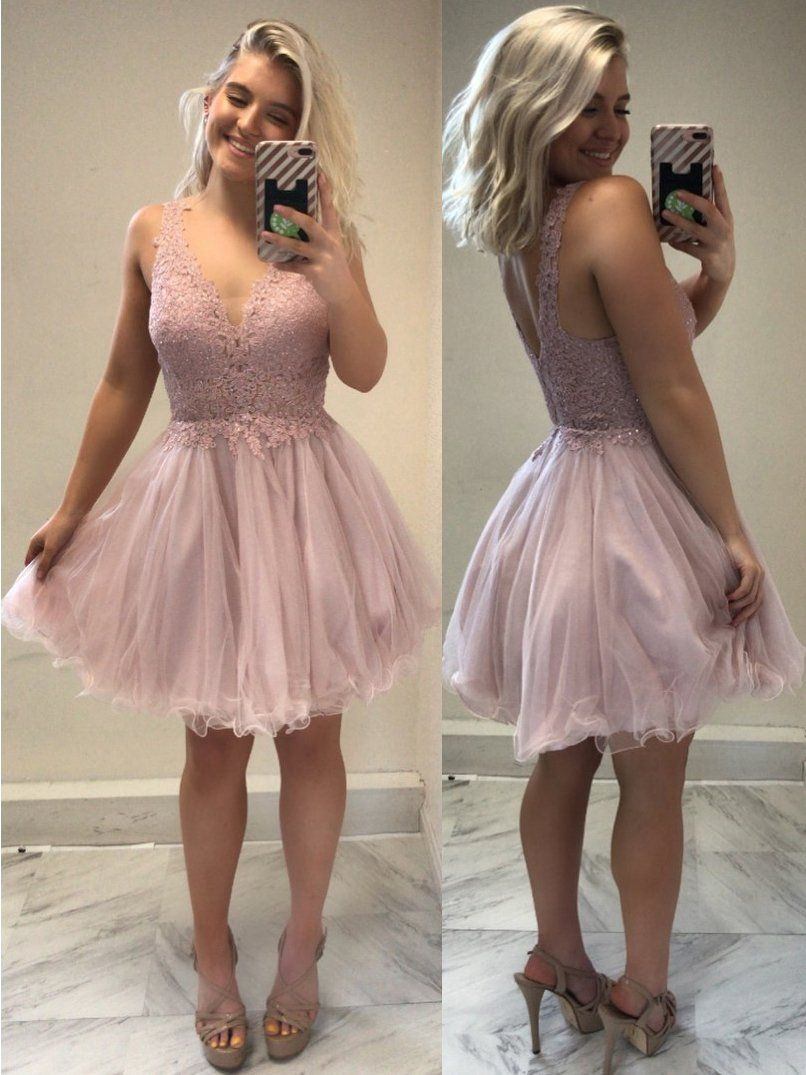 Pink dress hoco  Lace Top Blush Pink Homecoming Dresses Tulle Short Hoco Dress
