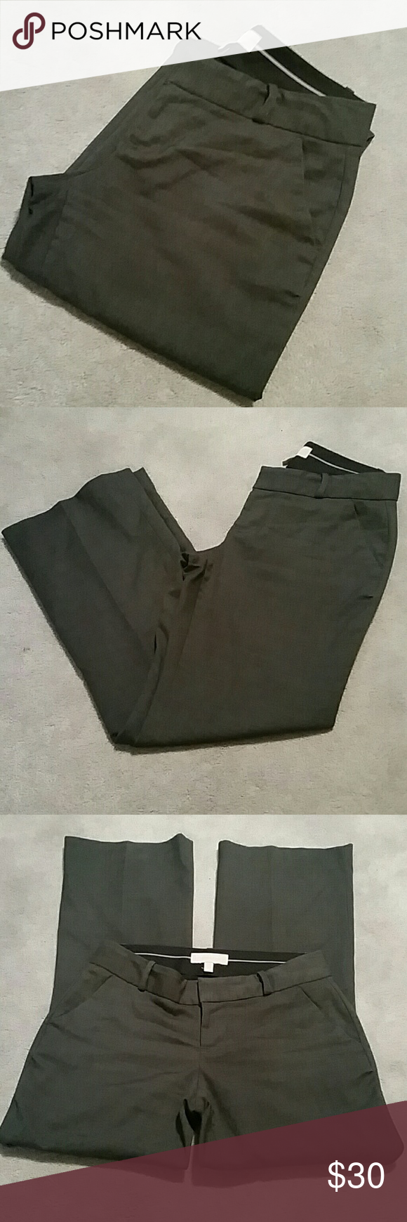 "Banana Republic Martin Fit Slacks sz 2P Excellent Condition from a smoke and pet free home  Martin Fit Slacks in Charcoal Gray  70% polyester /28% rayon/ 2% spandex  Fully lined 100% polyester  Two front pockets, decorative back pockets Approx Measurements :  Waist 14.5"" Rise 8"" Inseam 29"" Banana Republic Pants"