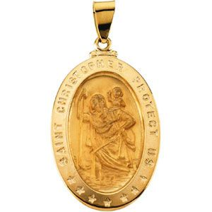 St Christopher Medal 29x20mm 14kt Yellow Gold St Christopher Medal Medals Yellow Gold