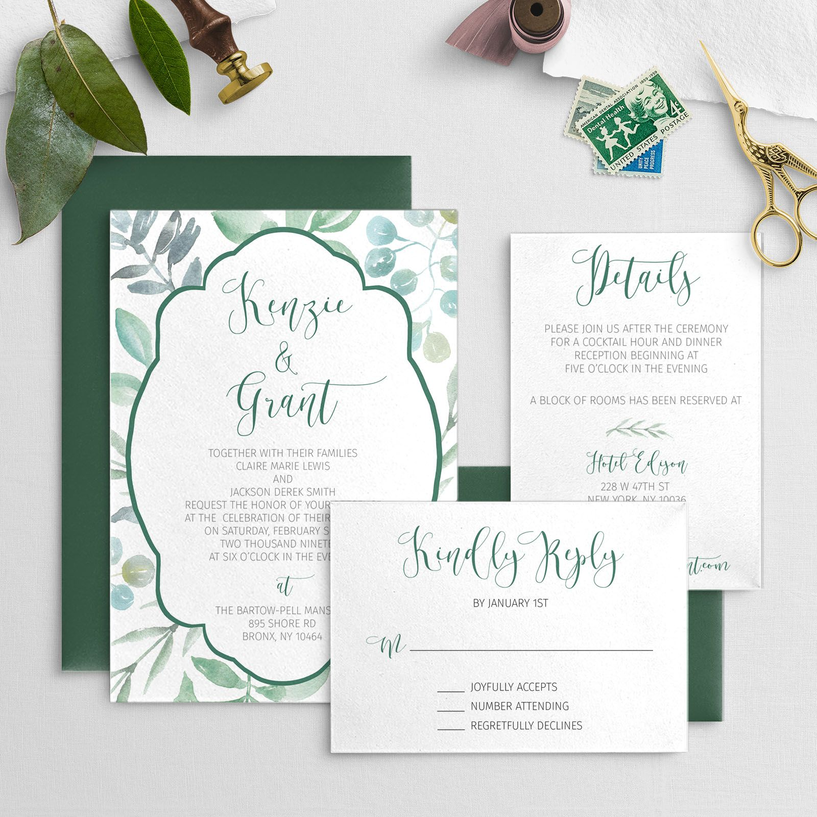 Greenery With Ornate Frame Wedding Invitation Digital Download
