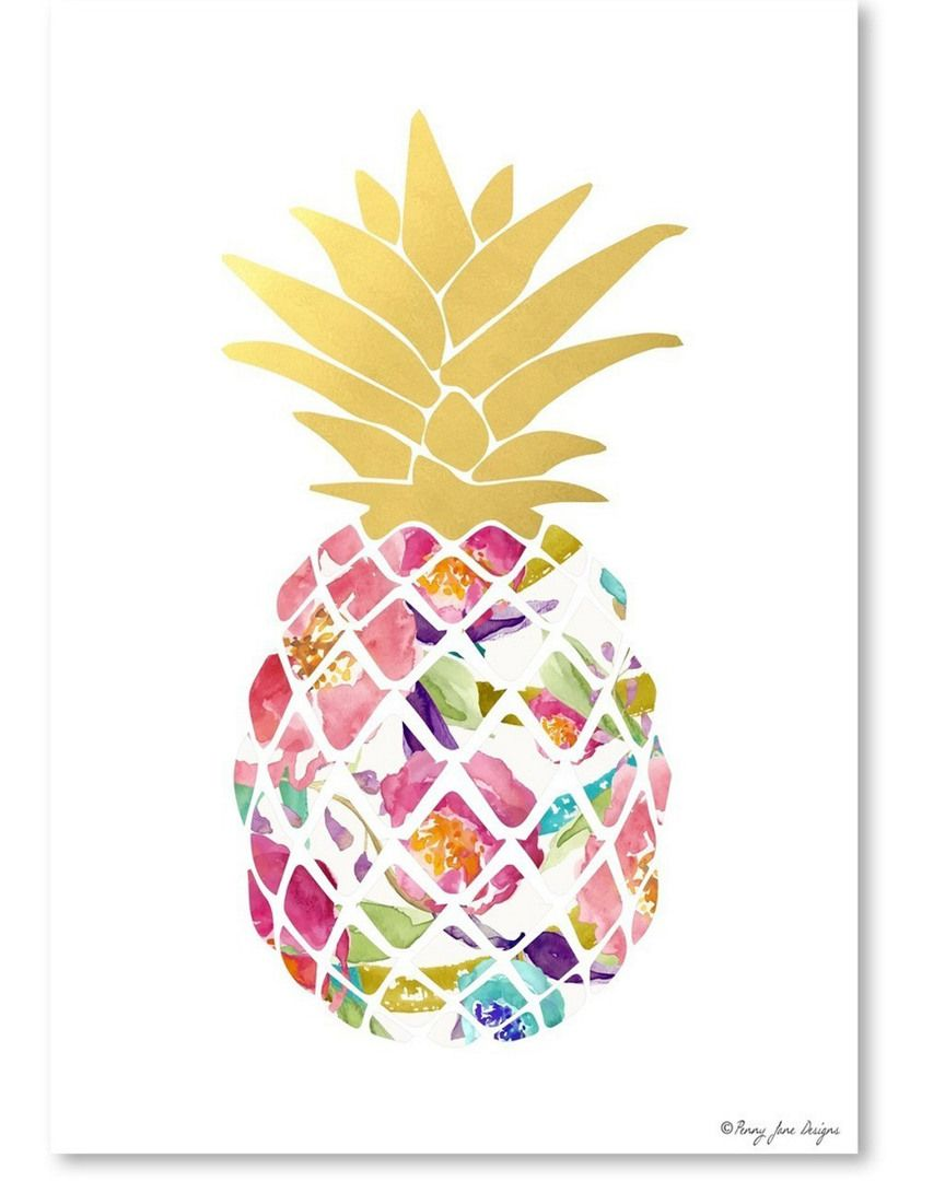 Watercolor Floral and Gold Pineapple by Penny Jane Designs ...