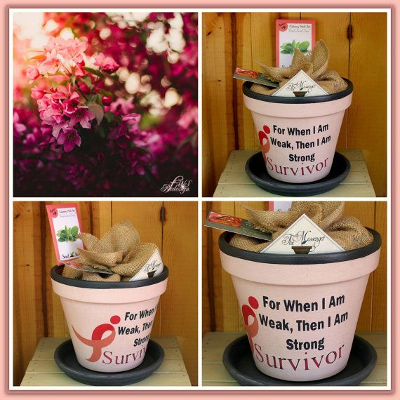 Breast Cancer Survivor  Painted Flower Pot with by FlipWithScript