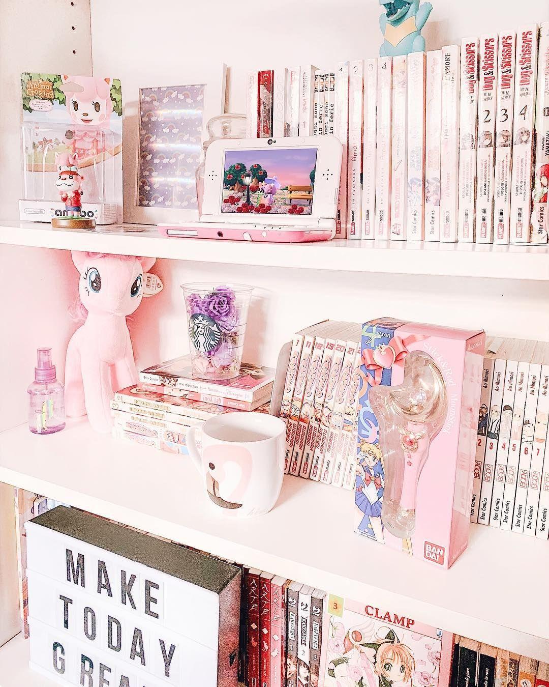 Kawaaii Manga Anime Sailormoon Mylittlepony Bookshelves Bookshelf Mangacollection Pastelkawaii Otaku Room Kawaii Bedroom Cute Diy Room Decor