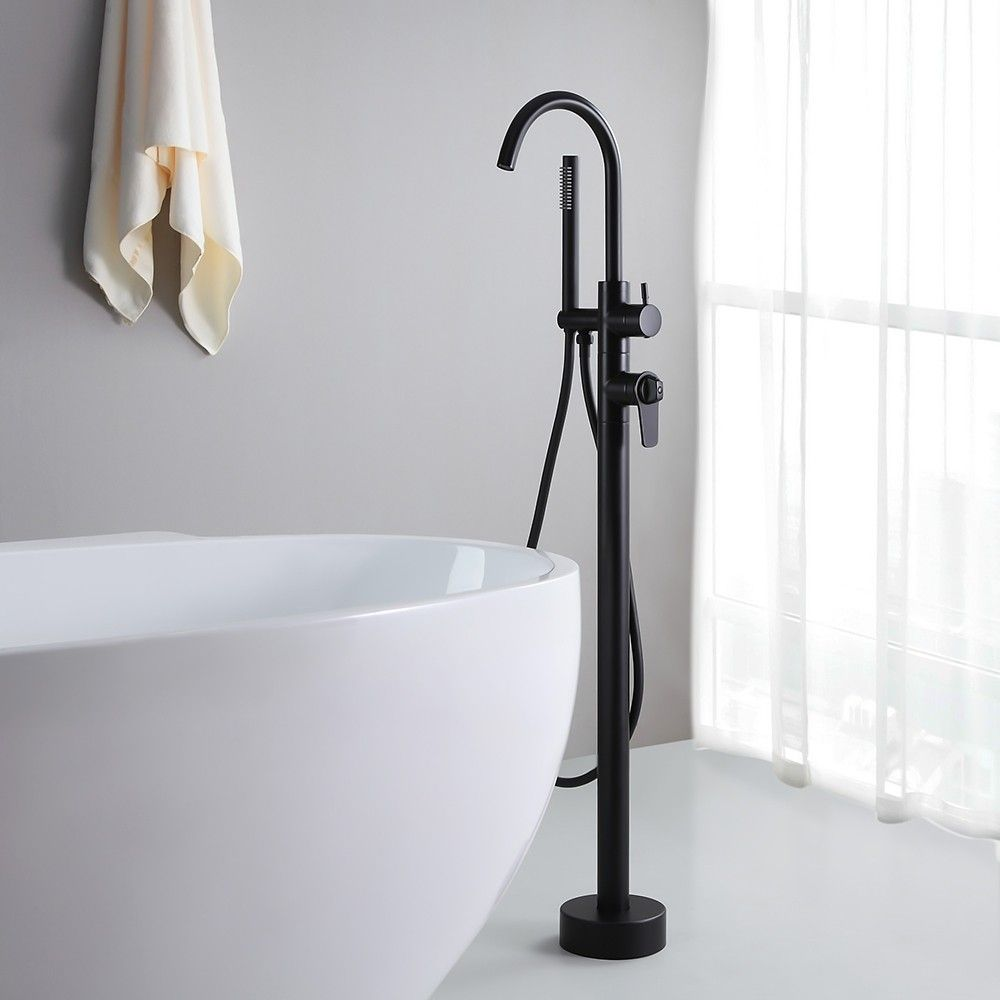 Modern Freestanding Bathtub Filler Thermostatic Bathtub Faucet Floor Mount Matte Black Tub Faucet With Handshower Free Standing Bath Tub Black Tub Faucet Bathtub Faucet
