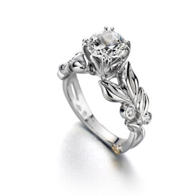 rings diamond womens flower ring beautiful silver women gift band original floral s sterling products jewelry leaf wedding