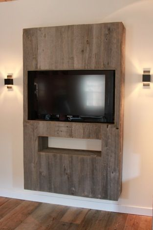 Mobilier d int rieur atmosphere bois bricolage pinterest atmosph re mobilier et mur tv - Deco tv muur ...