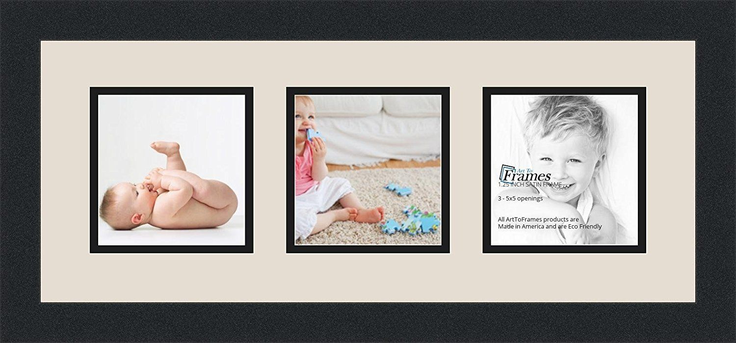 Arttoframes Collage Photo Frame Double Mat With 3 5x5 Openings And Satin Black Frame Find Out More About The Great Prod Frame Photo Collage Picture Frames