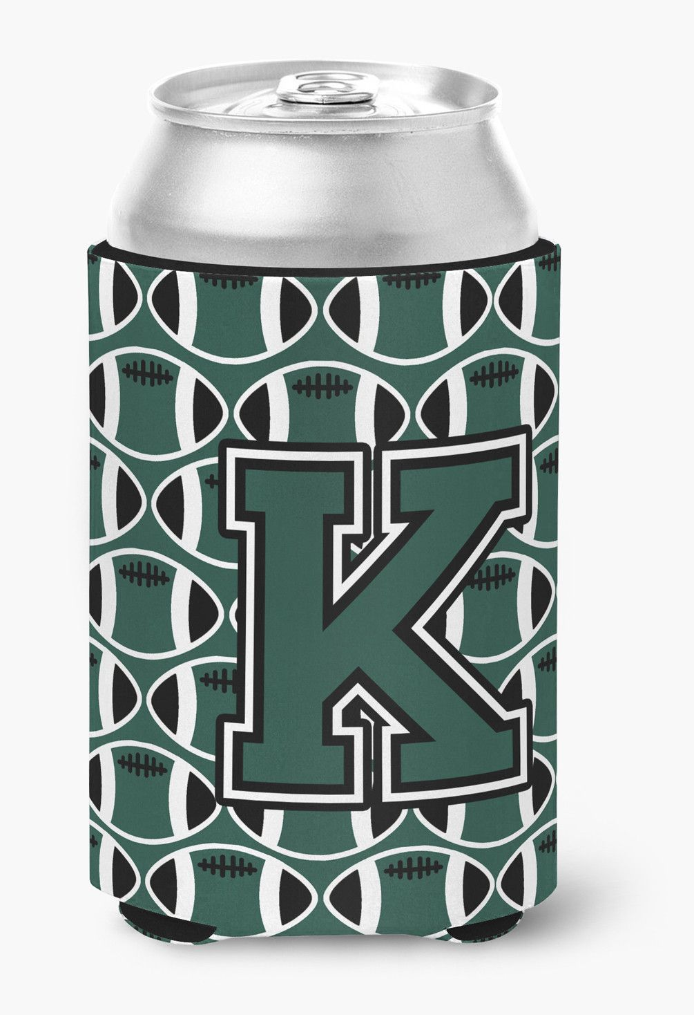 Letter K Football Green and White Can or Bottle Hugger CJ1071-KCC