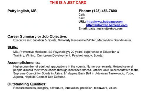 Jist Cards Business Cards That Are Mini Resumes Curriculum Development Resume Education And Training