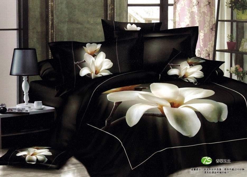 3D White Orchid Comforter Bedding Sets Queen King Size 4pcs Black  Quilt/duvet Cover Bedclothes