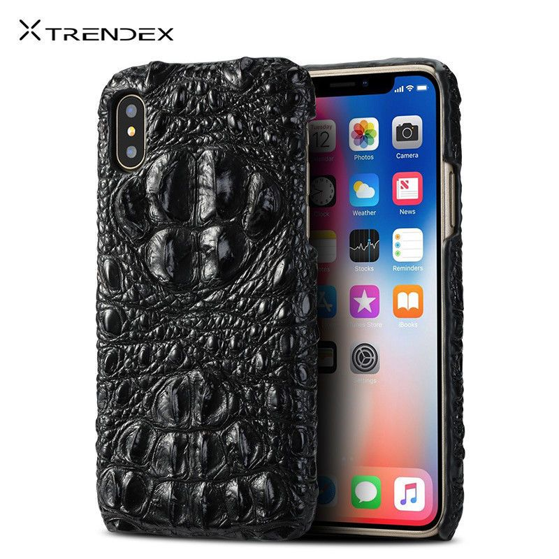 huge discount fbc45 77d12 For iPhone XS MAX XR 8 Plus 100% Genuine Real Crocodile Leather Back ...