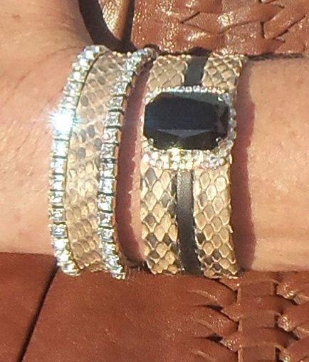 Genuine Python Snakeskin Black and Brown Swarovski by JanaJewelry, $65.00