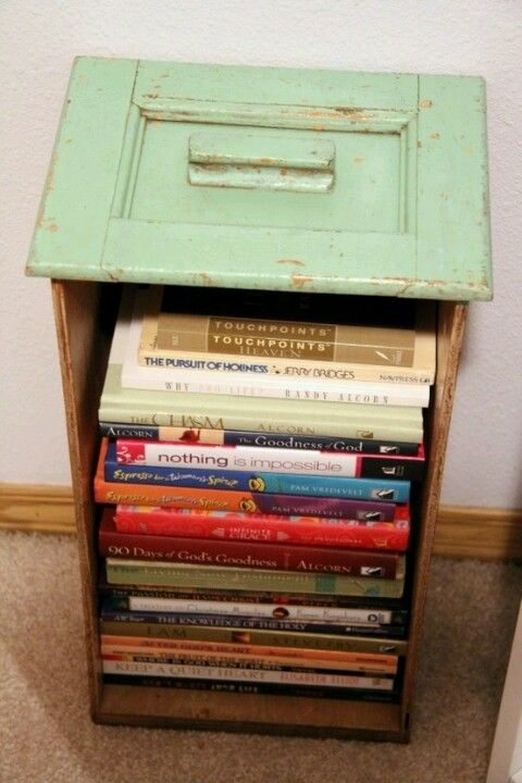 An ld dresser drawer repurposed into a book shelf, make this with one of the many drawers from the Lakeshore ReStore!