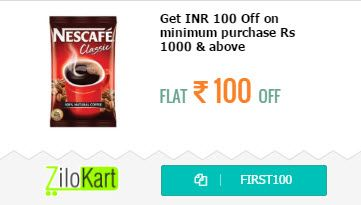 Get INR 100 rupees off on minimum purchase of 1000 & Above
