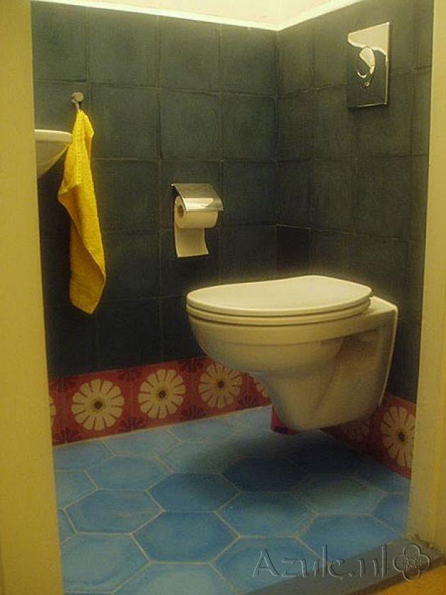 Cementtiles Toilet - Rosso 04 - Eegal Azule S34 - Egal Azule S800 - Project van Designtegels.nl