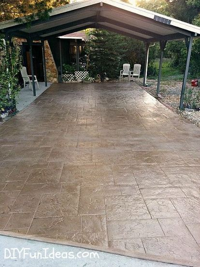 gorgeous diy stamped concrete tile driveway for less, concrete masonry, curb appeal, diy, how to