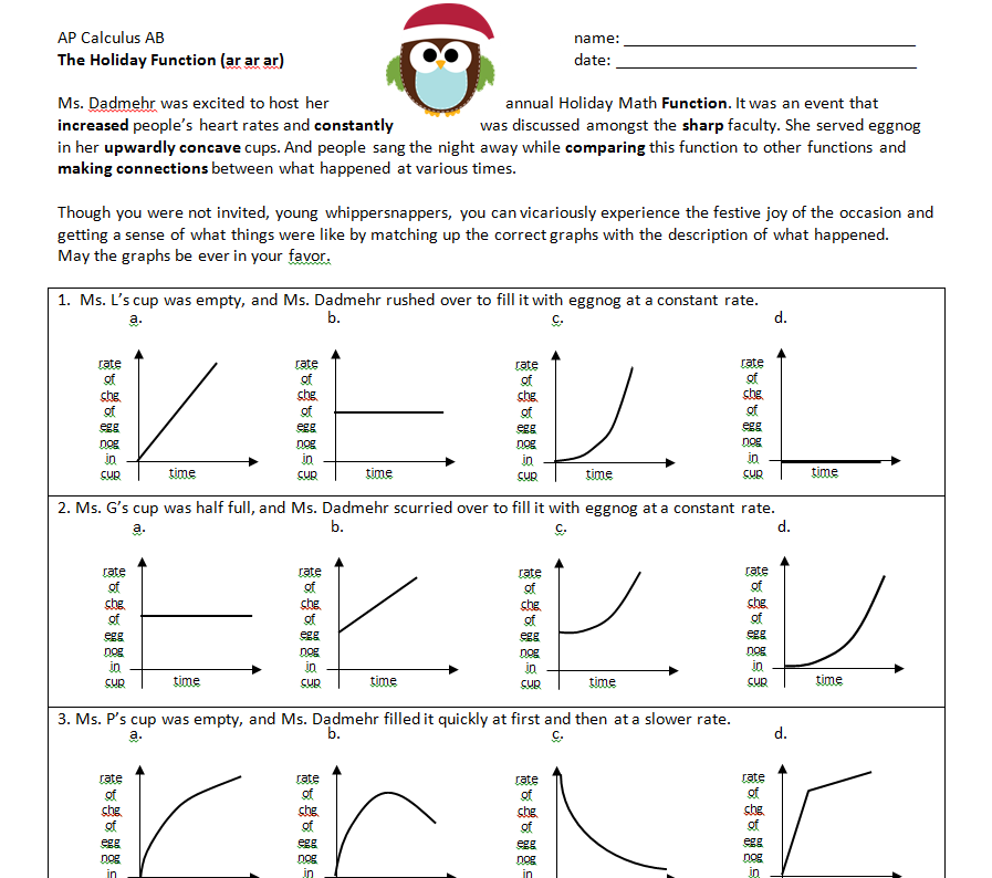 Math Teacher Mambo: Calculus f and f Prime graph information ...
