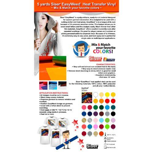 5 Yards Siser Easyweed Heat Transfer Vinyl Mix Match Your