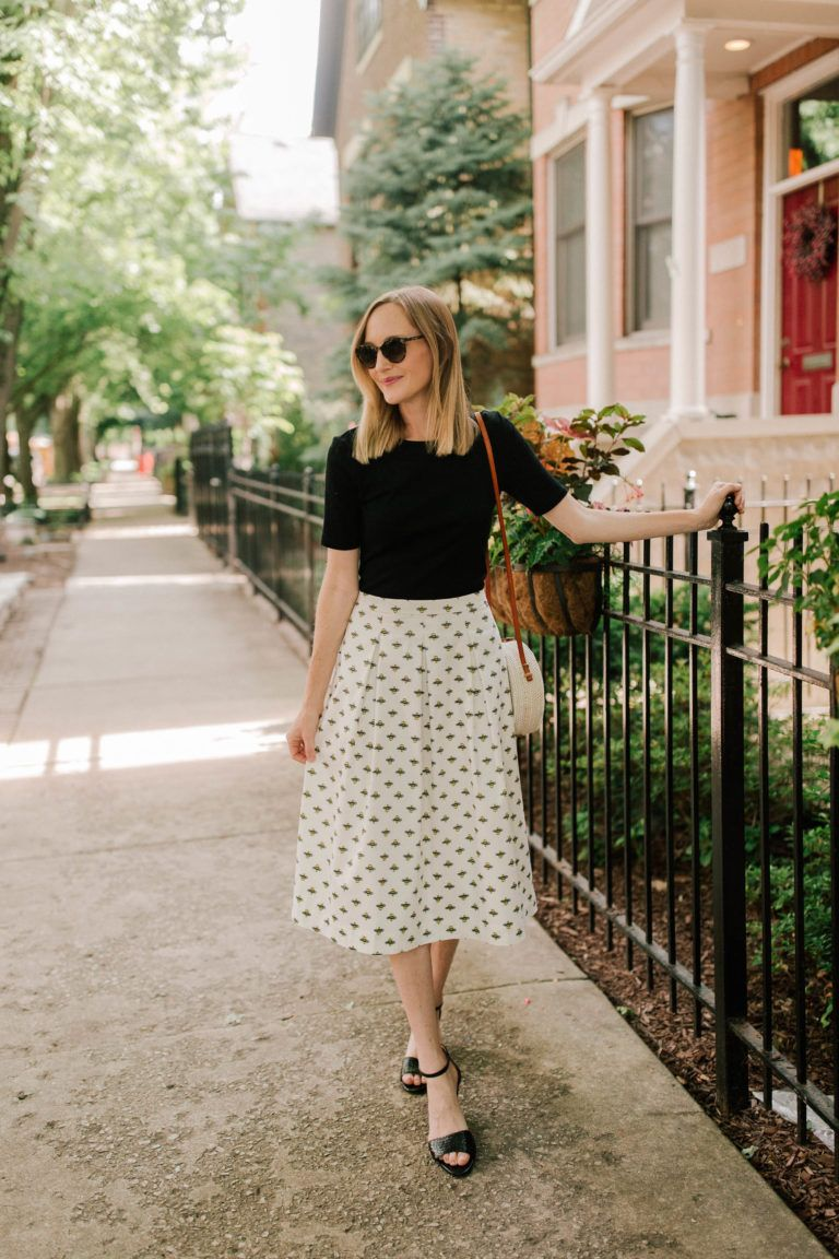 04807f9f951 Bee Skirt (Also available at Boden.)   Perfect Tee   Current Favorite Black  Sale Sandals   woven bag - Kelly in the City