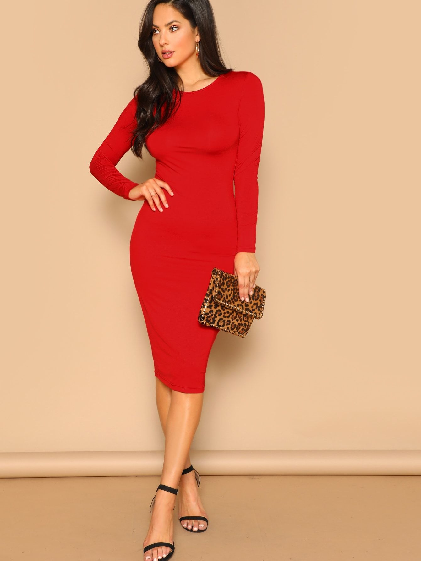 3e31571a23 Elegant Pencil Plain Sheath Round Neck Long Sleeve Regular Sleeve Natural  Red Knee Length Long Sleeve Solid Pencil Dress